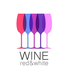 Wine red white template logo vector