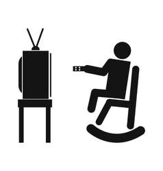 Human watching television vector