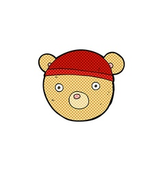 Comic cartoon teddy bear hat vector