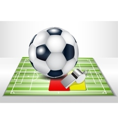 Football field with footballs set vector