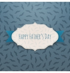 Happy fathers day festive tag with blue ribbon vector