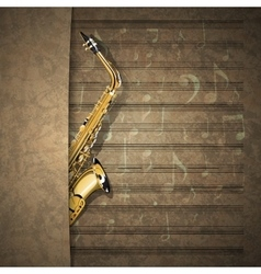 Musical background sax on old sheet music notation vector
