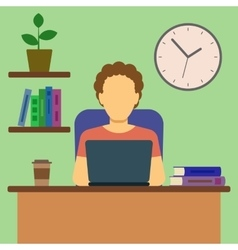 Man working at home concept vector