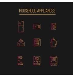 Kitchen appliances icons set vector