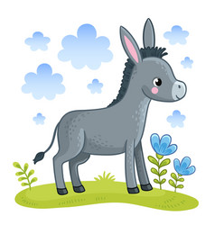 A cute donkey is standing in a clearing vector