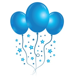 Blue balloons with stars vector