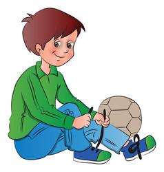 boy tying shoelace vector image
