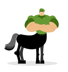 Centaur soldier in green beret military mythical vector