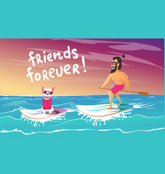 Cheerful surfer and dog are relax vector