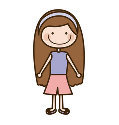 Color silhouette cartoon brown long hair girl with vector
