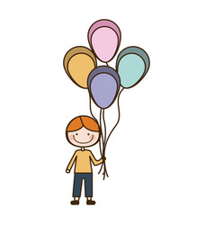 Colorful caricature of smiling kid with t-shirt vector