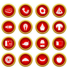 Food icon red circle set vector