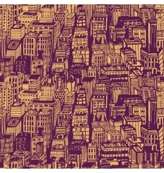 Hand drawn seamless pattern with big city new york vector