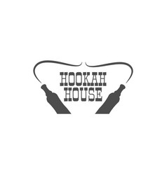 Hookah house label badge vintage shisha logo vector