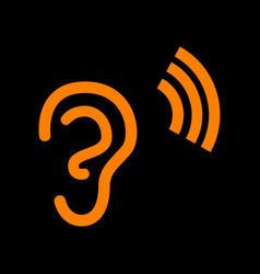 Human ear sign orange icon on black background vector