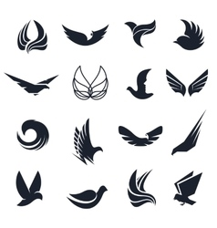 Isolated abstract black and white birds vector image