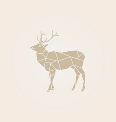 Low poly brown deer vector