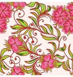 Seamless hand drawn floral pattern vector image