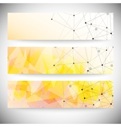 Set of horizontal banners Orange triangle design vector image