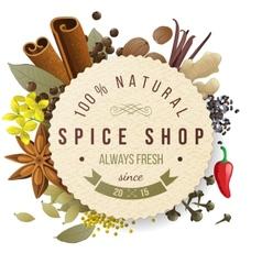 Spice shop emblem vector