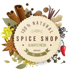 spice shop emblem vector image vector image