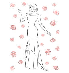Stylish woman in a long dress among roses vector