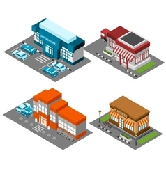 Supermarket stores buildings isometric icons set vector