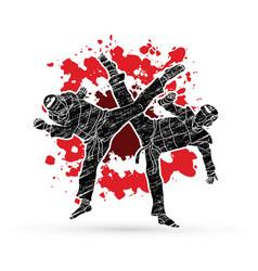 Taekwondo fighting designed on splatter blood vector