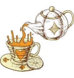 Tea cup and pot vector