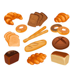 Various types of baked goods realistic style vector