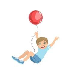 Boy Hanging On Big Red Balloon vector image