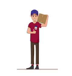 courier with a box on his shoulders express vector image