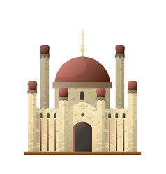 islamic mosque ancient castle with round roofs and vector image