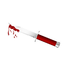 Knife with red handle and bloody blade vector