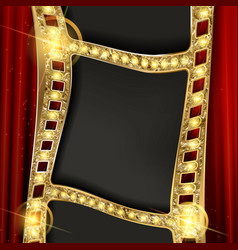 Gold film on the curtain backdrop vector