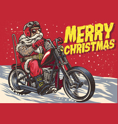 Senior biker wear santa claus costume and riding vector