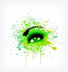 Grunge abstraction green make-up vector image