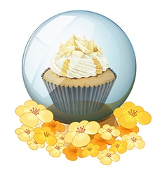 A cupcake inside the crystal ball vector