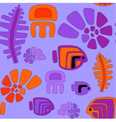 Seamless stylized tribal pattern with aquatic anim vector