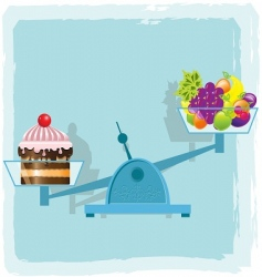 Fruits and cake vector