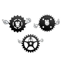 Gear wheels with funny faces and hands vector