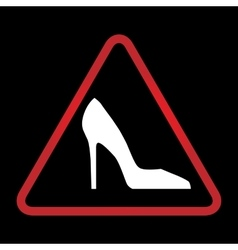 Warning sign with woman shoe vector