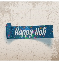 Happy holi scroll blue ribbon with color splashes vector
