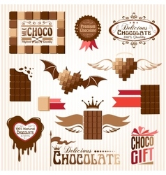 Set of chocolate decorative elements vector