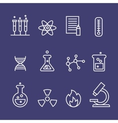 Science and chemistry research thin line icons vector