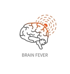 Brain fever icon vector
