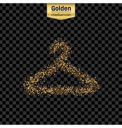 Gold glitter icon of hanger for clothes vector