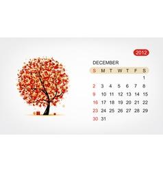 calendar 2012 december Art tree design vector image