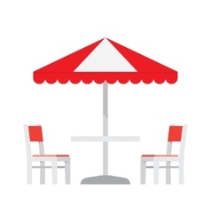 Table with chairs and umbrella vector