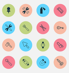 Apparatus icons set with tomahawk garden fork vector